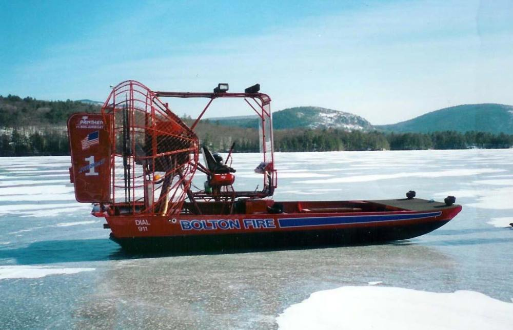 airboat on ice, frozen lake